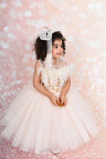hover state of Peach Daisy Tulle Dress