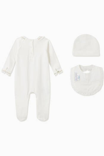 hover state of Pyjama, Bib and Hat Gift Set in Cotton
