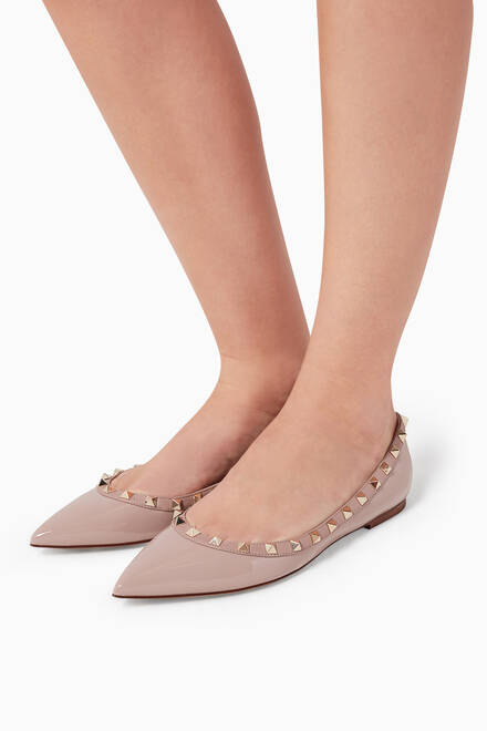 hover state of Poudre Rockstud Patent Ballerinas