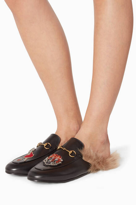 hover state of Black Princetown Heart-Appliquéd Backless Loafers