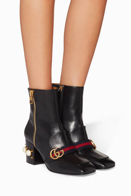 hover state of Black Leather Pearl-Embellished Ankle Boots