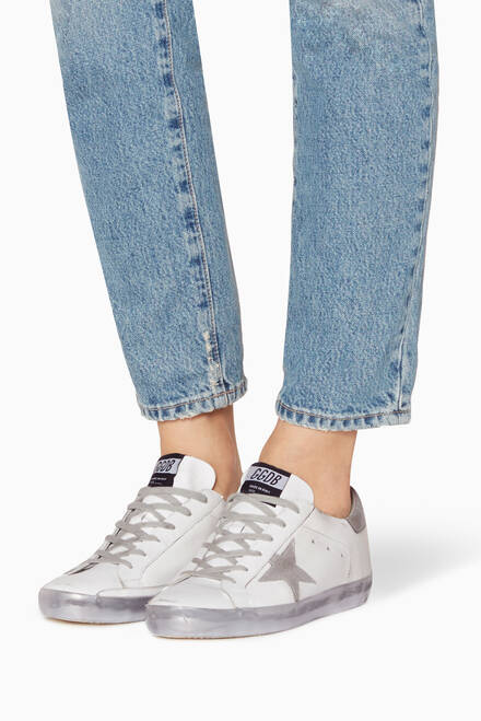 hover state of White & Silver Sparkle Low-Top Superstar Sneakers