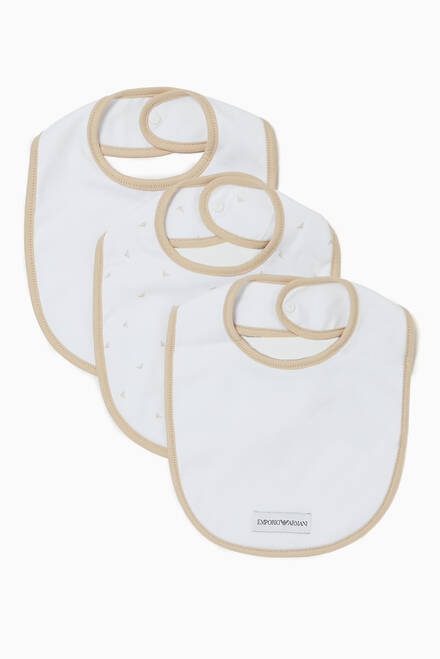 hover state of Three-Pack Beige My First Bibs Set