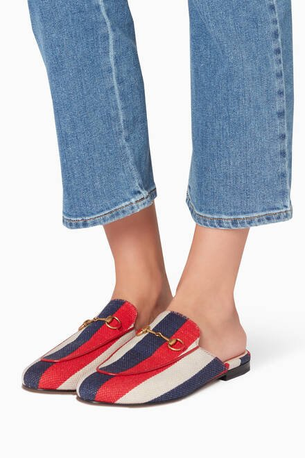 hover state of Red, Navy & White Princetown Sylvie Loafers