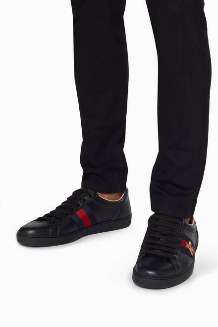 hover state of Black Ace Embroidered Sneakers