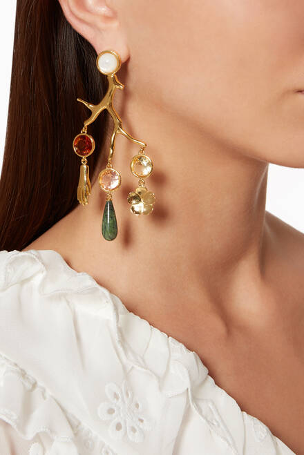 hover state of Multi-Coloured Relic Chandelier Earrings