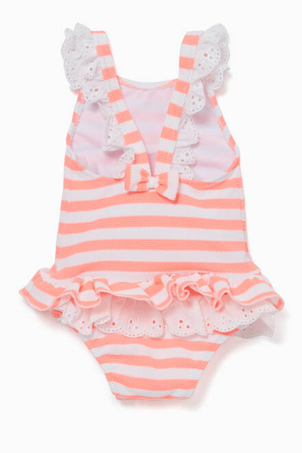hover state of Pink Frill Striped Swimsuit