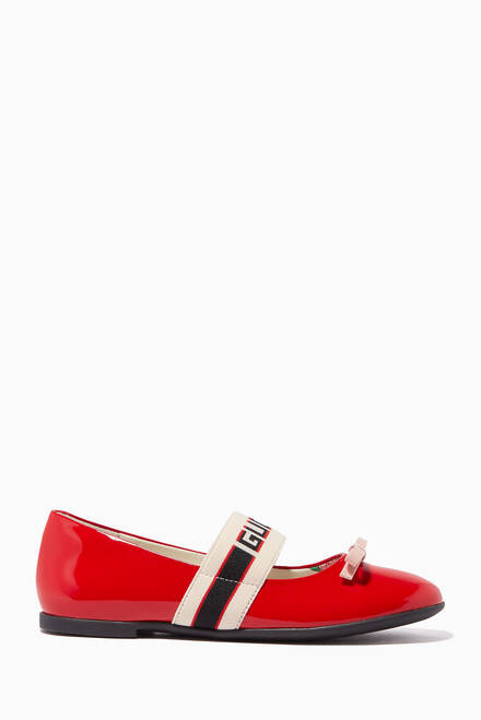 hover state of Ballet Flats with Gucci Stripe in Patent Leather