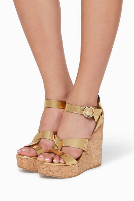 hover state of Aleili Mirror Leather Wedge Sandals