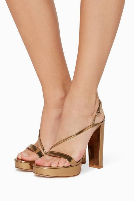 hover state of Mirror-Leather Strappy Platform Sandals