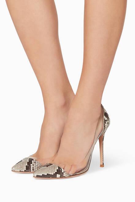 hover state of Plexi Python Leather Pumps
