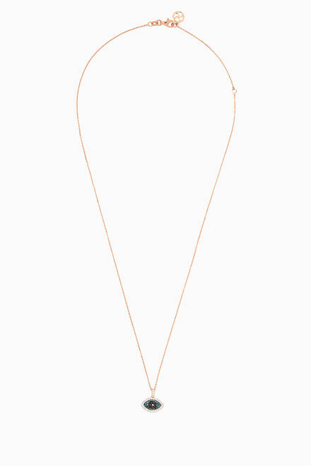 hover state of Rose-Gold & Diamond Eye Light Necklace