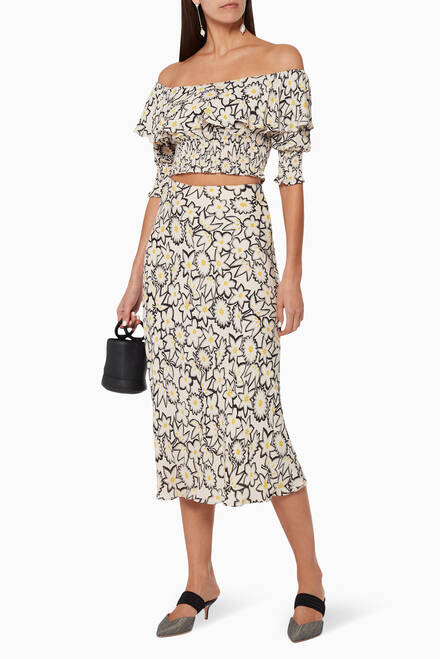 hover state of Floral Print Silk Skirt