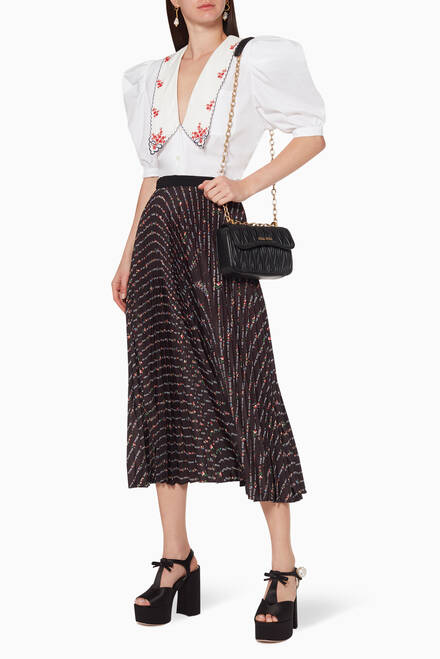 hover state of Floral Logo Print Pleated Skirt