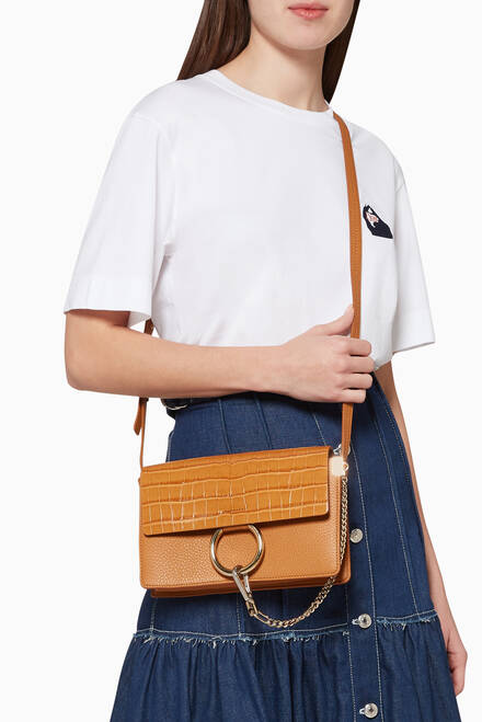 hover state of Small Faye Leather Shoulder Bag