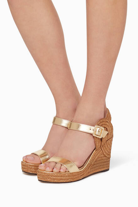 hover state of Delphi 100 Metallic Nappa Wedge Sandals