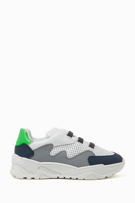 hover state of Chunky Panelled Leather Sneakers