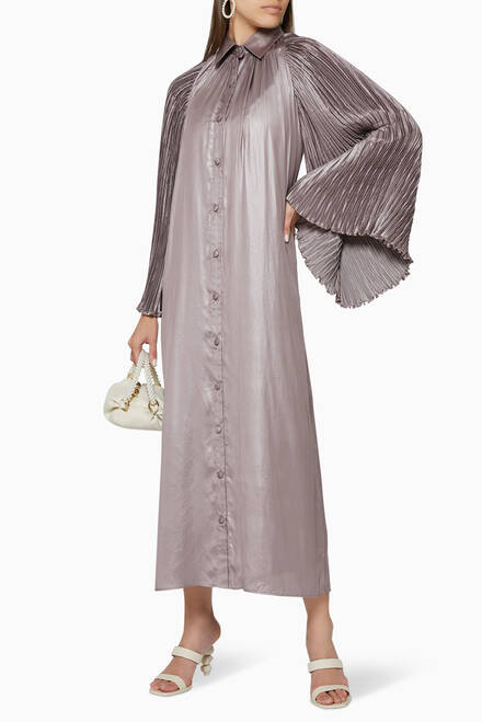 hover state of Metallic Satin Pleated Shirt Dress