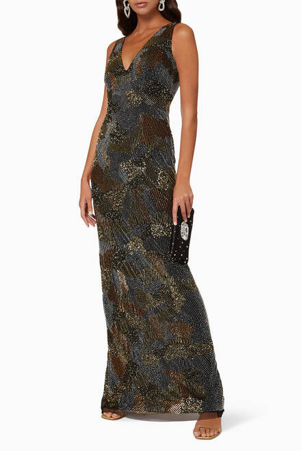 hover state of Sequin Embellished Gown