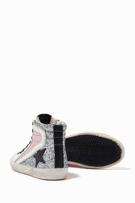 hover state of Francy Sneakers with Leather Star in Laminated Leather & Glitter