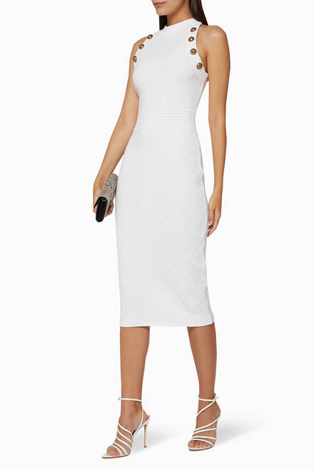 hover state of Button-Embellished Wool Midi Dress