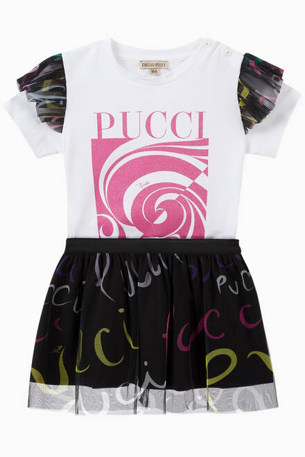 hover state of Pucci Pucci Print Mesh Skirt