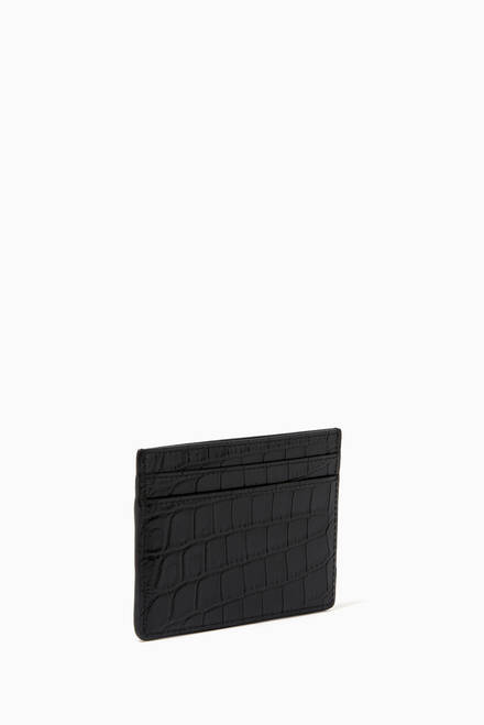 hover state of Card Case in Crocodile Embossed Leather