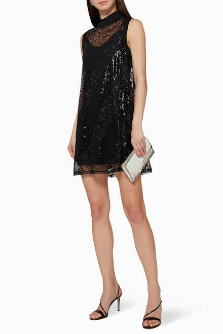 hover state of Semi-Sheer Lace Dress
