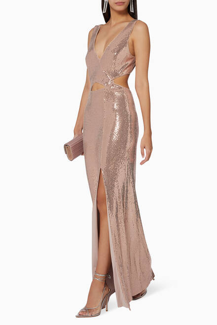 hover state of Metallic Cutout Gown