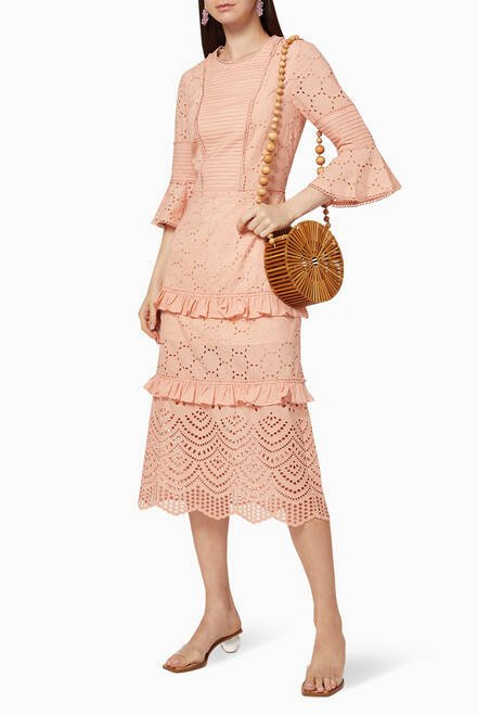 hover state of Lua Cotton Broderie Midi Dress