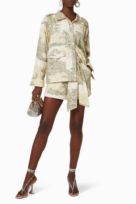 hover state of Idan Sequinned Cotton Jacket