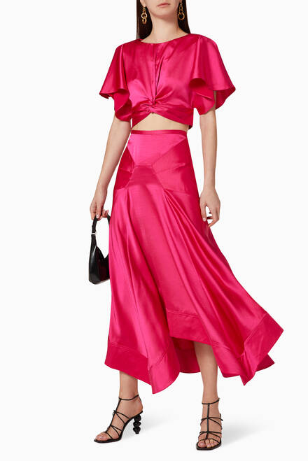 hover state of Palmera Satin Cropped Top