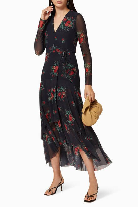 hover state of Printed Mesh Wrap Dress