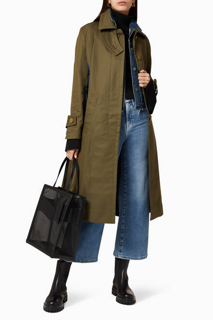 hover state of Cotton Gabardine Longline Coat
