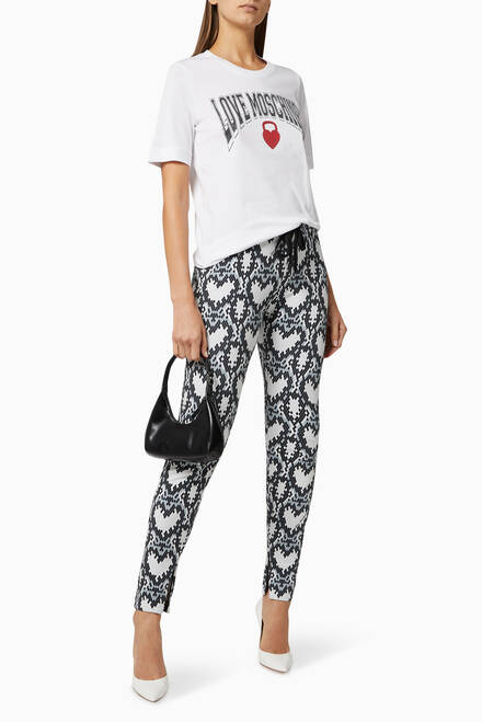 hover state of Hearts Print Stretch Pants