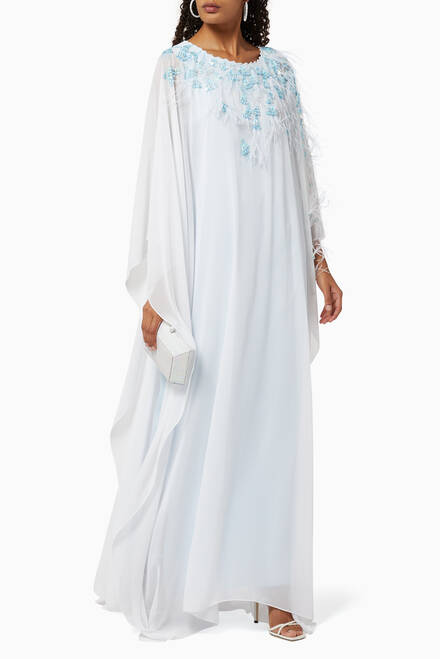 hover state of Feather Embroidered Chiffon Kaftan