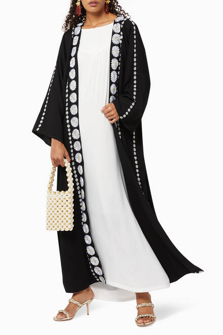 hover state of Floral Embroidered Crepe Abaya