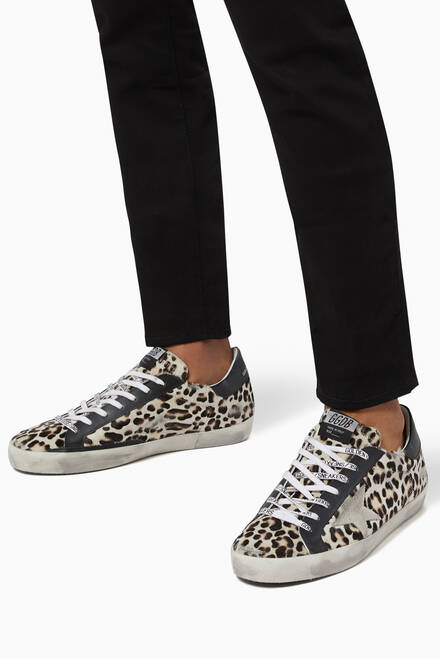 hover state of Super-Star Sneakers with Suede Star in Leopard-Print Leather