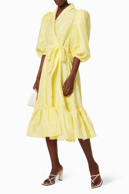 hover state of Chinie Gingham Wrap Dress