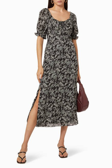 hover state of Trailing Jasmine Print Silk Dress