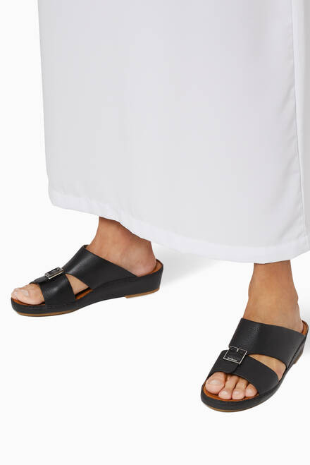 hover state of Arabic Sandals in Grained Leather