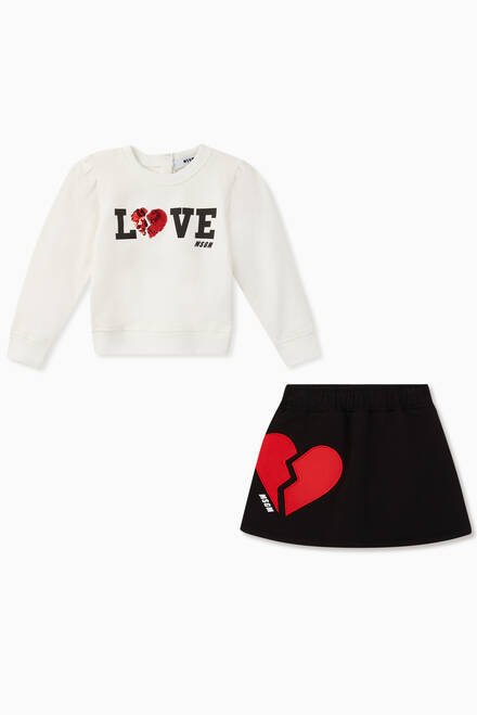 hover state of Heart Sweatshirt & Skirt Set
