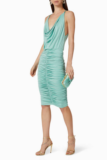 hover state of Gathered Jersey Midi Dress