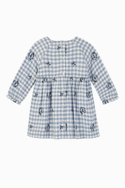 hover state of Embroidered Gingham Cotton Dress
