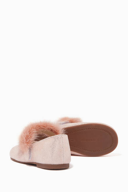 hover state of Fur Ballerinas in Metallic Leather