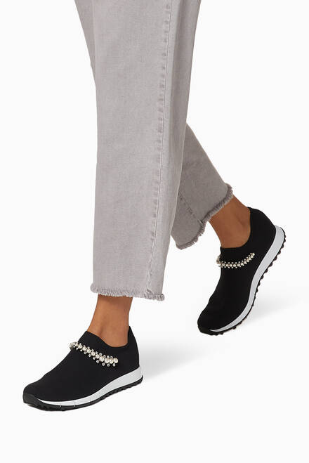 hover state of Verona Trainers with Crystal Detailing in Knit