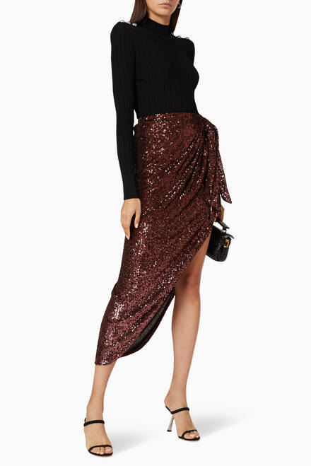 hover state of Sequin Embellished Tie-Up Skirt