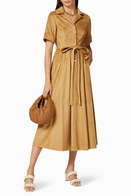 hover state of Millie Suede Midi Dress