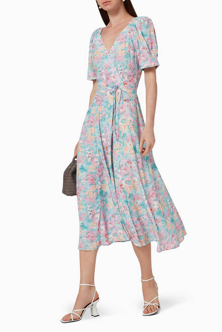 hover state of Laila Floral Printed Wrap Dress