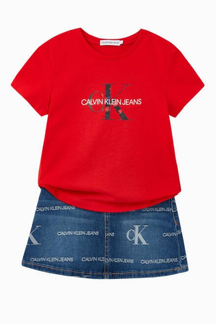 hover state of CK Monogram Denim Skirt